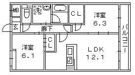 2LDK間取図